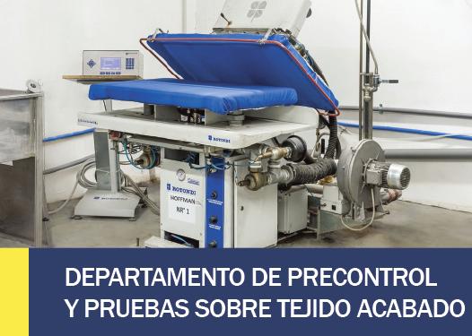 DEPARTAMENTO DE PRECONTROL Y PRUEBAS SOBRE TEJIDO ACABADO